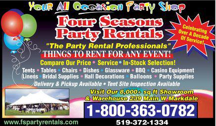 Four Seasons Party Rentals - 239 Main West, Markdale - 519-372-1334 , 1-800-363-0782 - Click here to visit our website!