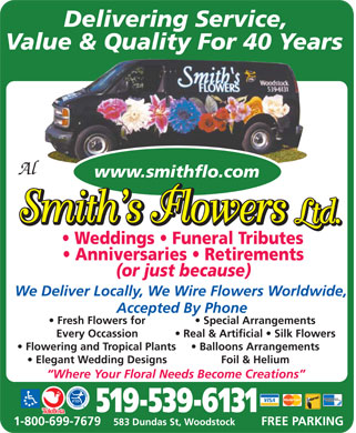 Al Smith's Flowers Ltd - 583 Dundas Street, Woodstock, ON - 519-539-6131