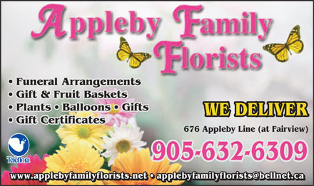 Appleby Family Florists - 676 Appleby Line, Burlington, ON, -  905-632-6309 - Click here to visit our website!