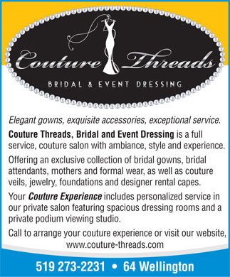 Couture Threads Bridal and Event Dressing - Click here to visit our website!