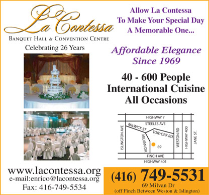 La Contessa Banquet Hall and Convention Centre - 416-749-5531 - 69 Milvan Drive, Toronto