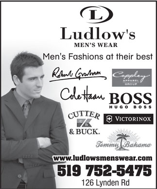 Ludlow's Men's Wear and Shoes - Formal Wear, Tuxedos and Tuxedo Rentals - 126 Lynden Road, Brantford, ON, - 519-752-5475 - Click here to visit our website!