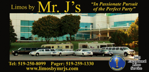 Limos by Mr. J's - In Passionate Pursuit Of The Perfect Party!  Windsor Ontario Canada - Phone 519-250-8099 - Pager 519-259-1330 , Click here to visit our website!