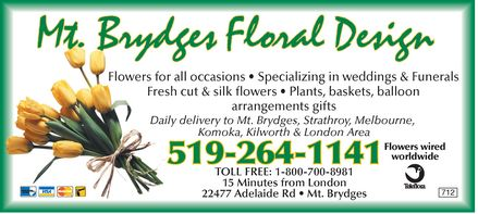 Mt. Brydges Floral Design - 519-264-1141 - Click here to visit our website.