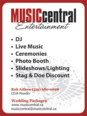 Music Central Entertainment South-Western Ontario's Wedding and Corporate DJ SpecialistsCeremony Music | PA Systems | Dinner Music- Karaoke Packages to keep guests involved- Additional lighting effects to jazz up the dance floor- Vocalist background music available- The DJ can assist with or handle Master of Ceremony duties if requiredPhone: 519-680-0698, 1-888-537-6511