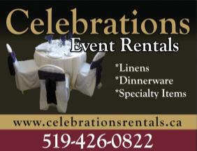 Celebrations Event Rentals - Wide selection of high quality Wedding, Party and Corporate Invitations and Stationery.  We go the extra mile to make your event special.                    479 Queensway W., Simcoe, Phone: 519-426-0822              - Click here to visit our website!