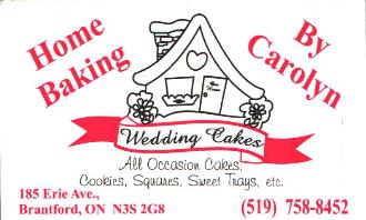 Home Baking by Carolyn -  Wedding Cakes-All occasion cakes-Cookies-Squares-Sweet Trays!