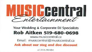 Music Central EntertainmentSouth-Western Ontario'sWedding and Corporate DJ SpecialistsCeremony Music | PA Systems | Dinner Music- Karaoke Packages to keep guests involved- Additional lighting effects to jazz up the dance floor- Vocalist background music available- The DJ can assist with or handle Master of Ceremony duties if requiredPhone: 519-680-0698, 1-888-537-6511
