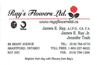 Ray's Flowers Ltd. - Brighten their day with flowers from Ray's - 86 Brant Ave - 519-756-0770