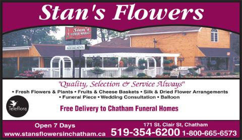 Stan's Flower Inc - 171 St Clair, Chatham, ON - 519-354-6200 - Click here to visit our website!