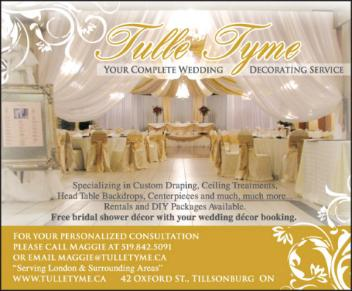 Tulle Tyme - Your Complete Wedding Decorating Service - 519-842-3091 - Click here to visit our website!