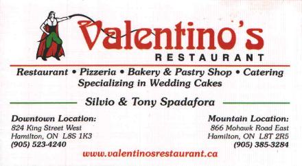 Valentino's Restaurant - Pizzeria - Bakery and pastry Shop - Catering - Specializing in wedding cakes.