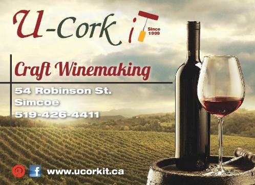 U-Cork it On Premise Winemaking, Wine and Beer Kits, Equipment and Supplies, 54 Robinson St., Simcoe, 519-426-4411 - Click here to visit our website!